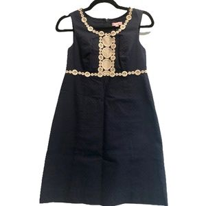 Lily Pulitzer Navy Shift Dress w/ Gold Embroidery